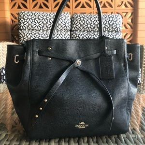NEW COACH Leather Turnlock Tie Medium Tote Handbag